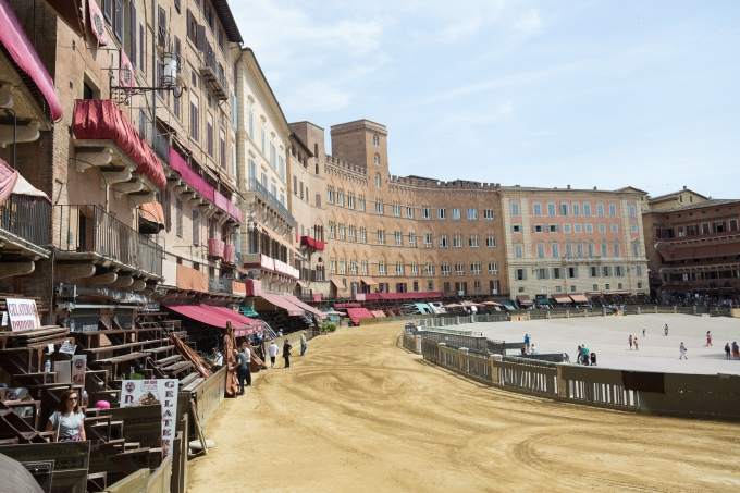 Siena town square with a dirt track added for the big race
