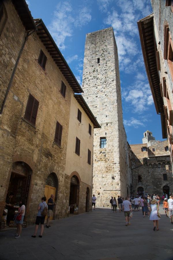 San Gimignano main street and a high tower