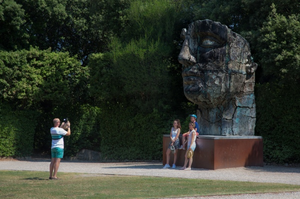 Sculpture and family in Boboli Garden, Florence
