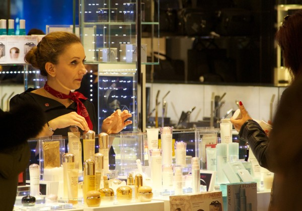 The Shiseido counter, Galerie Lafayette
