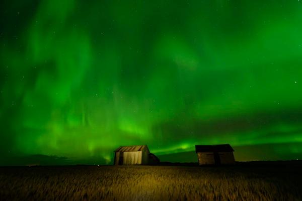 aurora borealis, northern lights, prairie, harvest, crops, granary, farm buildings, green glow, night photography, Dan Jurak, long exposure,